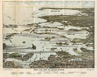 Bird's eye view of Boston Harbor along the South Shore to Provincetown. Vintage restoration hardware home Deco Style wall reproduction map