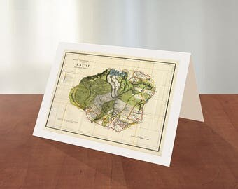 Diy map cards etsy greeting card of map of kauai hawaiian islands 1906 reproduction map greeting card gumiabroncs Choice Image