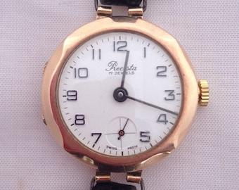 9ct gold watch, Precista wristwatch, gold octagonal watch, womens gold watch, 9ct Rose Gold Watch, jewellery, womens Watches, gold watch