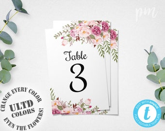 Floral Wedding Table Numbers Template, 4x6 Printable Table Number Cards with Flowers, Easy to Edit in our Web App, Instant Download