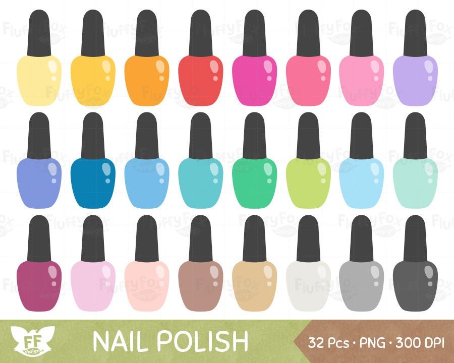 Nail Polish Clipart Manicure Clip Art Rainbow Beauty Girl