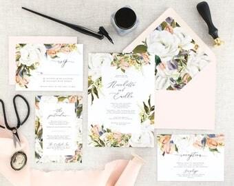 Elegant Wedding Invitations Printed - Floral Wedding Invitation Suite - Romantic Wedding Invitation Set Floral - Wedding invites - Set of 10