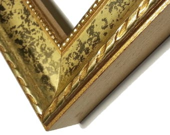 Set of 6 -  Gold Picture Frames, Wood, Small Rope, Beaded Lip, Gold Ornate Photo Frames, Real Glass, Backer & Hardware 5x7,8x10,11x14,16x20