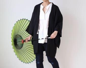 soft silk kimono jacket, Haori, Japanese kimono, black kimono jacket /1811