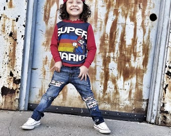 Super Mario, baby romper, handmade baby clothes, baby bodysuit, custom baby clothes, trendy toddler clothes, hip toddler clothes