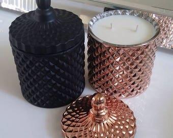 Matte black geometric glass soy candle 250g