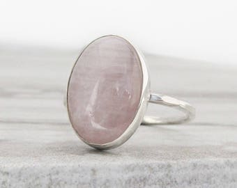Rose Quartz Ring Gemstone Ring - Gifts for Her Dainty Silver Ring for Women - Anniversary Gift for Her - Hammered Ring Minimalist Ring