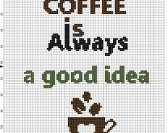 Coffee cross stitch pattern, Easy Pattern pdf #32