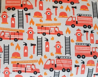 Fire Engines , Cotton Lycra Jersey Knit Fabric