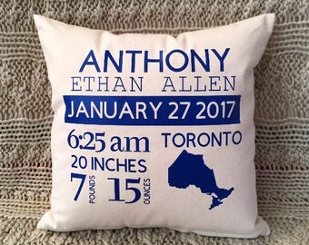 Baby gift, Birth Announcement, Baby Shower Gift, Baby Pillow, Personalized Pillow, Custom Baby Pillow
