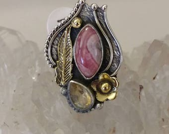 Rhodochrosite and Citrine Ring, Size 7