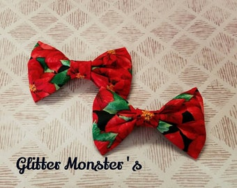 Christmas Bow Tie, Infant-Adult Bow Tie, Poinsettia Bow Tie, Christmas Bow Tie,Clip on Bow Tie, Christmas Ring-bearer Tie, Christmas Wedding