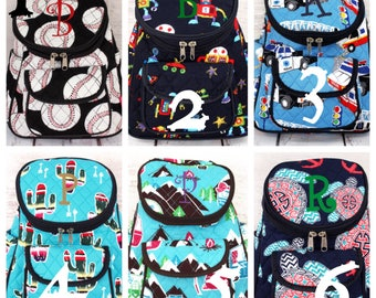 Quilted Backpack Diaper Bag with monogram