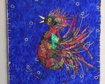 FibreArt Wallhanging - Art Quilt - FibreArt Bird - Dancing Bird - Textile Art - Embroidered Art