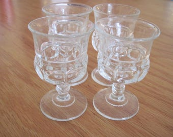 4 King's Crown Cordial Glasses Indiana Glass Co. -Item #1161