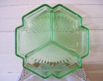 Three Section Relish Dish-Depression Glass-Vaseline Glass - Item #1454