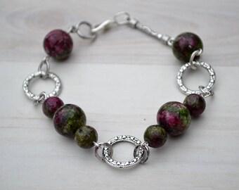 Lepidolite chain bracelet, Chain bracelet lepidolite, Lepidolite gift, Lepidolite jewelry, Original lepidolite gift, Lepidolite red bracelet