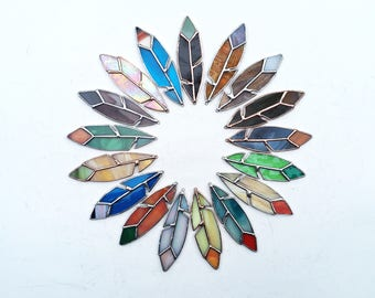 "4 1/2"" Stained Glass Feather -MADE TO ORDER"
