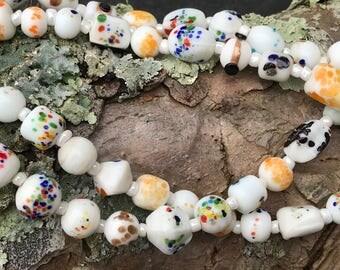 "Venetian White Glass Bead Necklace  28"" Wedding Cake Yellow Bead Necklace Murano Glass Bead Necklace"
