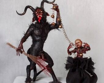 KRAMPUS - jumbo sized full figured krampus and flayed child sculptures