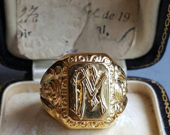 18K Gold Plated Silver Monogram Ring Initials MM  Size 9 Signet Ring Monogram
