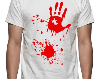 Halloween Blood Splatter Tee Shirt Design, SVG, DXF, EPS Vector files for use with Cricut or Silhouette Vinyl Cutting Machines
