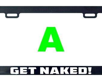 Get naked funny license plate frame tag holder decal sticker