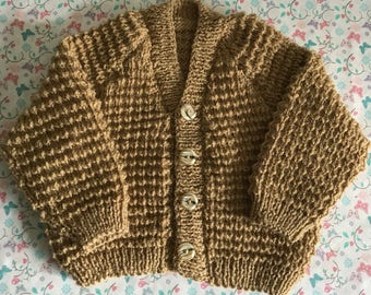 Hand knitted baby cardigan, 3-6 months baby sweater, caramel baby knitwear, baby boy clothing, baby gift ideas, baby shower gifts
