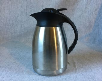 Vintage Stainless Steel Oggi Coffee or Water Carafe with Locking Lid