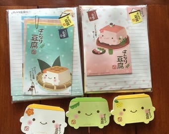 Q_lia/ Hannari Tofu Stationery Lot / Vintage/ Hard to fine/ 2 Letter Sets and 3 Mini Die_cut Memo/ Food with Faces