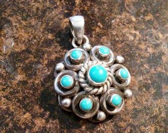 SALE! Vintage sterling turquoise blossom pendant