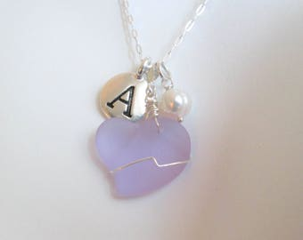Personalized Beach Glass Necklace, Purple Sea Glass Necklace, Heart Necklace, Recycled Glass Pendant, Initial Necklace, Pearl Necklace