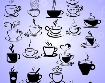 20 coffee svg / Tea mug / HQ / coffee cup silhouette / tea cup silhouette / SVG / PNg / EPS / Dxf files / vector / scrapbooking / coffee cup
