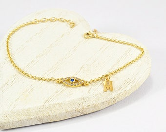 Greek Evil Eye Bracelet, Evil Eye Bracelet, Greek Letter Bracelet, Evil Eye Jewelry, Bracelet with Gold Evil Eye, Evil Eye For Women