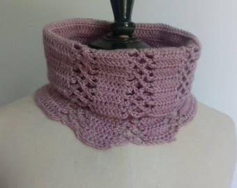 Collar snood old Alpaca woolen woman pink hand crocheted vintage
