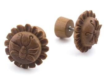 Honey Bee Wooden Fake Gauges Earrings