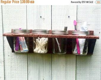 ON SALE Mason Jar Bathroom Organizer - Rustic Bathroom Wall Decor - Bathroom Caddy - Mason Jar Planter - Wall Organizer - Bathroom Organizat