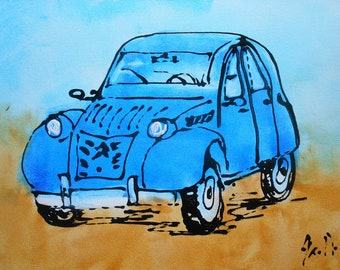"""Painting """"The blue 2CV"""""""