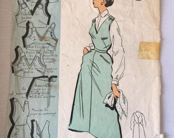 "Fabulous 50's french vintage sewing pattern :  Woman jumper dress-pocket back pattern piece missing-size 16 taille 44 ""Patron modele 53036"""