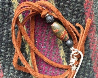 Essential Oil Bracelet- brown leather with unakite