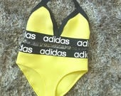 Reworked yellow adidas bikini set