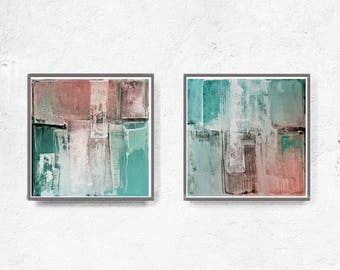 Squre art, modern abstract, Industrial Decor, blush peach , white , teal, pink, mint, large print, black, coral, set of 2, Art Poster,