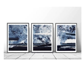 set of 3, Downloadable print, Contemporary Wall Art, Minimalist Art , poster ,Printable blue art, navy blue and white, scandinavian abstract