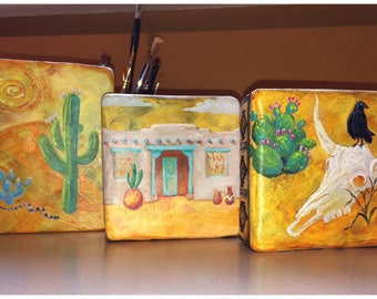 Hand Painted Ceramic Wall Art - Box Trio - Southwest - Adobe, Cactus, Steer Skull