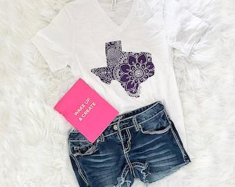 Texas Mandala Print - Unisex fit - Southern - South - Southern Belle - Southern Girl - Purple