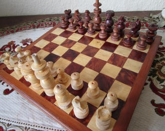 Handsome Vintage Wooden Chess Handmade Wooden Chess Set Handmade Chess Board Gift For Him