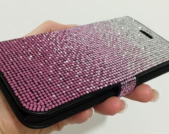 Faded Fuchsia Pink Rose Clear Bling Cards Wallet Case Swarovski & Czech Crystals Handmade Rhinestones Samsung Galaxy Note 8 Flip Cover