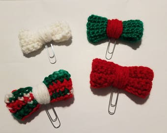 Big bow clips, bow clips, crochet bow clips, planner bow clips, limited Christmas bow clips