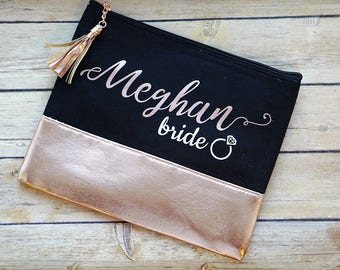 Rose Gold Bridesmaid Gift / Personalized Makeup Bag / Cosmetic Bag / Bridesmaid Proposal / Rose Gold Cosmetic Pouch / Bridal Party Gifts
