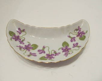 VIOLET Crescent Shaped Dish - Bavaria Germany - Old Nuremberg Bone China